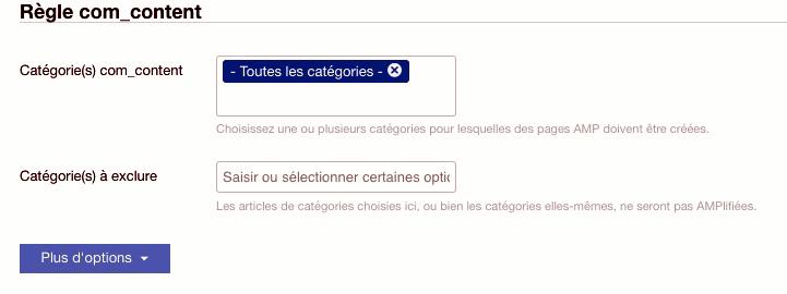 Choix des catégories dans wbAmp