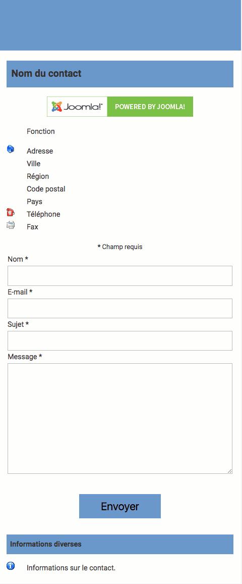 Fiche de contact Joomla! dans wbAmp