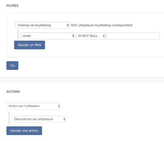 Action de masse Acymailing : déconfirmer les utilisateurs