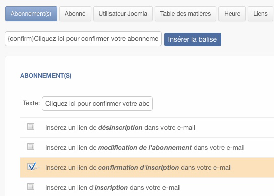 Balise d'insertion de lien de confirmation Acymailing