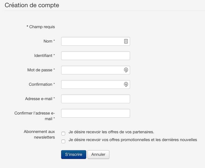 Formulaire de création compte utilisateur Joomla!