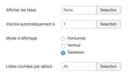 Paramètres du module Acymailing