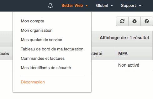 Déconnexion AWS