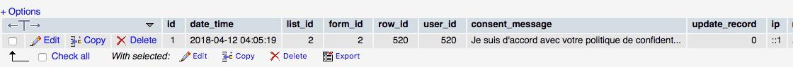 Enregistrement du consentement de l'utilisateur dans la base de données