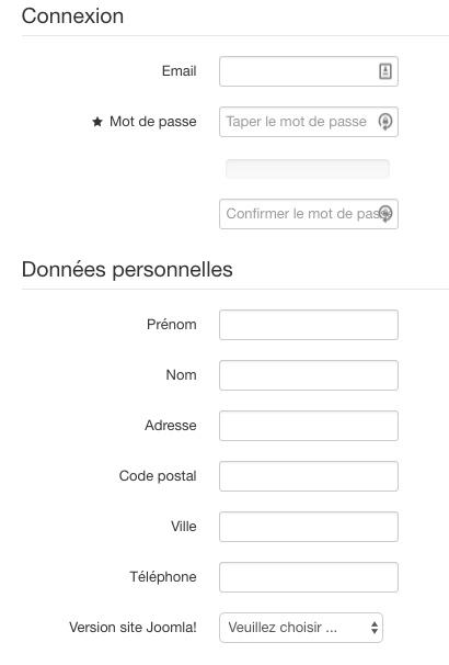 Formulaire d'inscription Joomla! personnalisé avec Fabrik