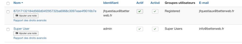 Pseudonymisation des données utilisateurs Joomla!
