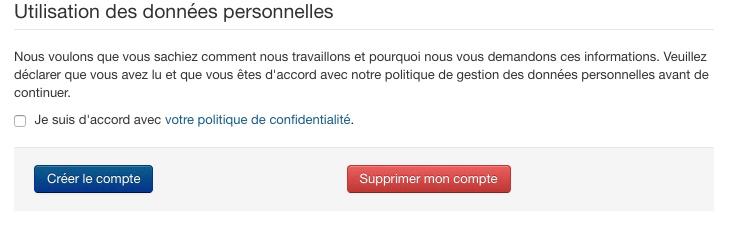 Suppression du compte de l'utilisateur Joomla!