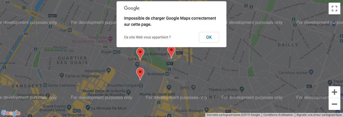 Message d'erreur Google Maps