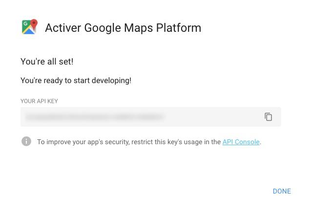 Clé API Google Maps
