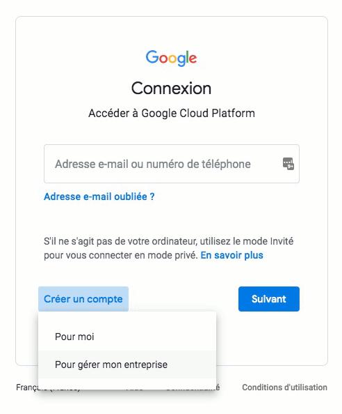 Création d'un compte Google