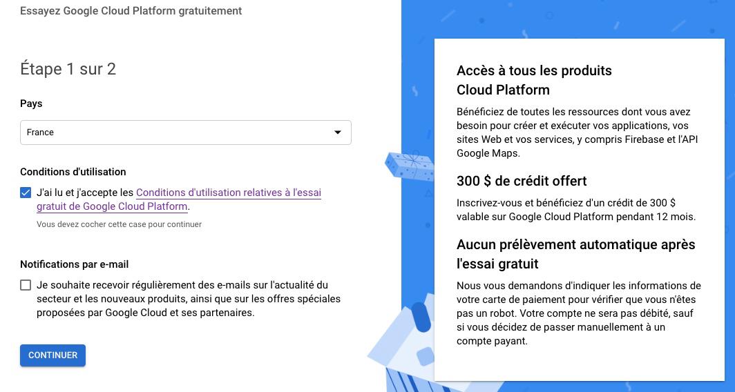 Facturation Google Cloud - étape 1