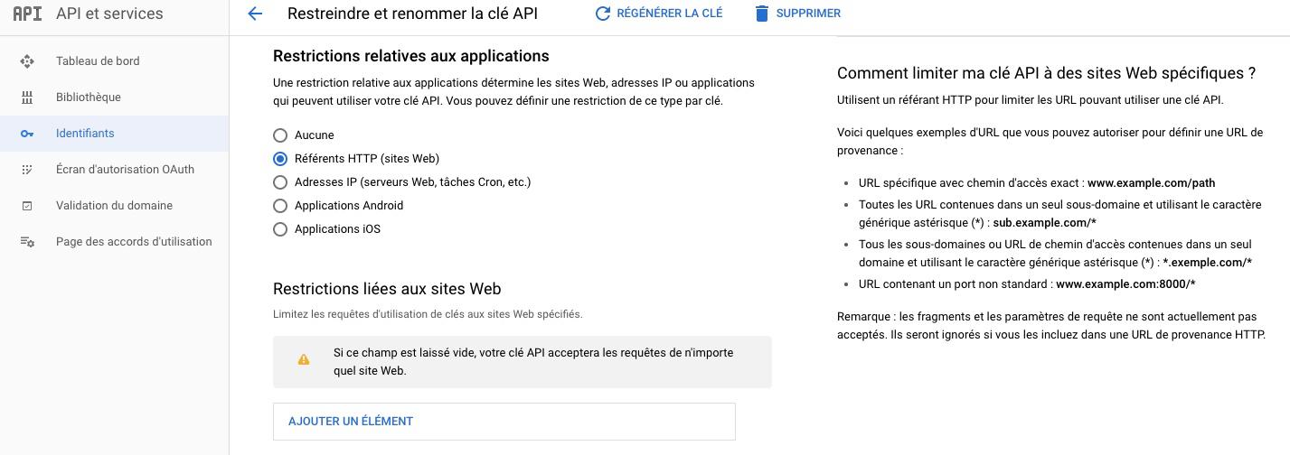 Sécurité de la clé API Google