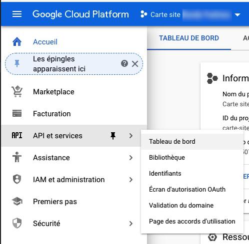 Tableau de bord API Google
