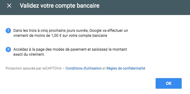 Validation compte bancaire