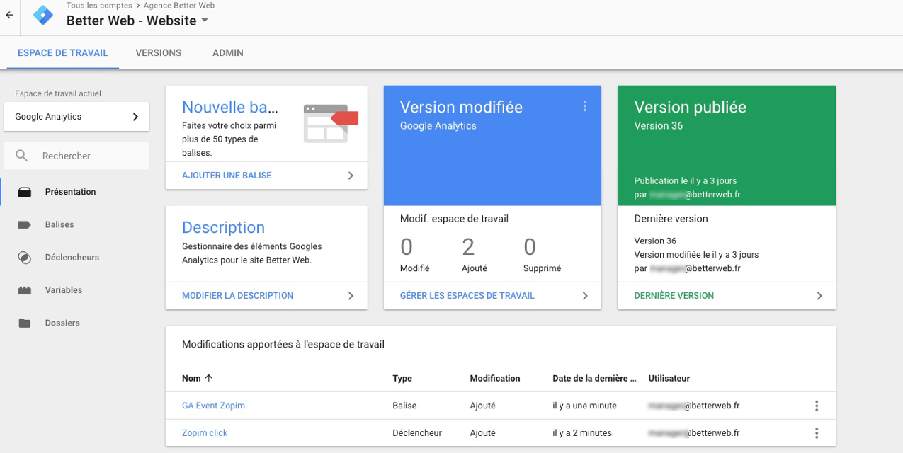 Interface google Tag Manager