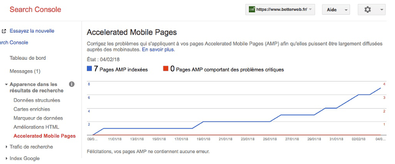 Etat de l'indexation AMP dans la Google Search Console