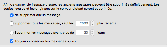 Suppression automatique des messages dans Thunderbird