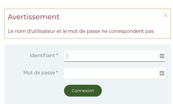 Modification du message d'erreur mot de passe Joomla!