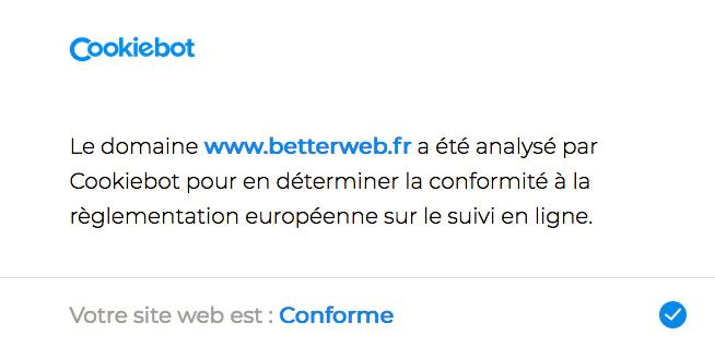 Scan du site par Cookiebot - Conformité règlement européen