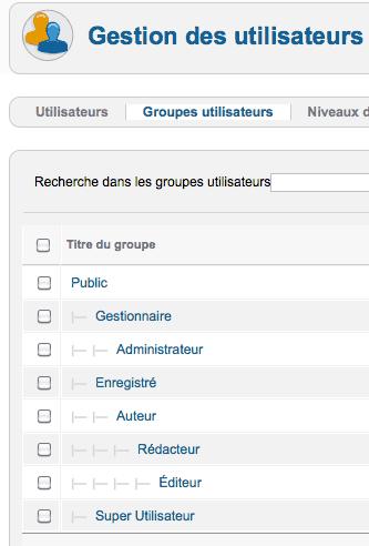 Groupes d'utilisateurs Joomla! par défaut